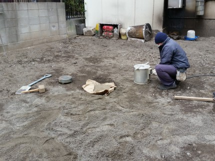 m邸の地盤調査の様子1